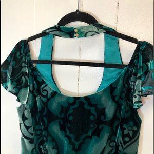 Nanette Lepore Green Velvet Mini Dress